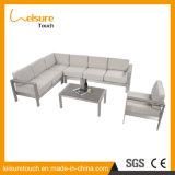 Sofà di alluminio grigio dell'angolo di combinazione della mobilia di spese di famiglia di svago dell'hotel esterno di modo