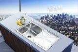 Нержавеющий шар раковины кухни одиночный с картиной на Wls10050-B