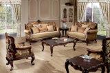 Cadeira antiga americana do braço do sofá clássico da tela com frame de madeira para a sala de visitas