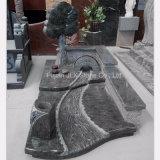 기념물을 새기는 올리브 녹색 화강암 나무 브리지 강