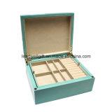Caso popular del almacenaje de /Wooden de la caja de reloj del rectángulo del organizador/de reloj de la joyería (LW-JB0333)