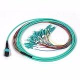12 fibra óptica Patchcord das fibras MPO-LC/Upc milímetros