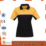 T-shirt élevé de polo de collier de femmes de mode de qualité d'usine