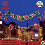 Motif rouge et vert de DEL à travers la décoration de Noël de réverbère pour des vacances