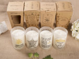 Bougie à extrémité élevé de Noël de cire de soja dans le choc en verre avec la boîte-cadeau