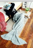 뜨개질을 한 바다 하녀 슬리핑백 인어 테일 담요 물고기 테일 담요