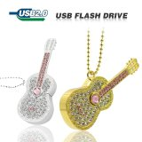 Guitarra cheia do cristal da memória do metal 100% do diamante da movimentação do flash do USB