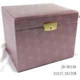 Caja cosmética de Tewelry del recorrido del caso de joyería del rectángulo del rectángulo de cuero de la belleza