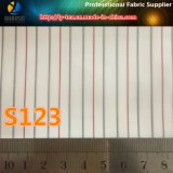 Mercancías pronto baratas de la tela de la guarnición de la raya del poliester para la tela del juego de las mujeres (S123.129)