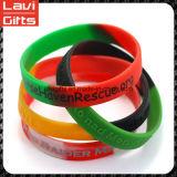 Bracelet fait sur commande en caoutchouc de silicones de brillance de couleur avec le logo