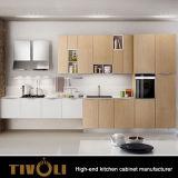 Jogos de madeira clássicos dos gabinetes de Ktichen do país para armários brancos feitos prontos da cozinha no estoque Tivo-0056h