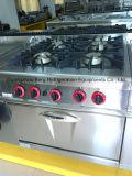 Escala de gás do aço inoxidável com 4-Burners e sob o forno