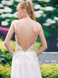 Spaghetti Straps Lace Open Back Robe de mariée sirène (Dream-100088)
