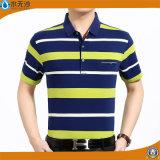 T-shirts de polo de piqué de coton de chemises de polo de piste de teinture de filé d'hommes