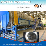 Le bottiglie/fiocchi di plastica residui dell'animale domestico che lavano il macchinario/riciclano la riga