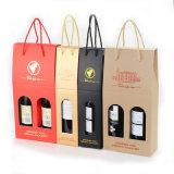 Коробки Двойн-Бутылки логоса горячие штемпелюя портативные складывая одной упаковки бутылки вина бумаги Kraft бутылки/