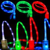 Câble de remplissage de clignotement de caractéristiques de l'éclairage USB d'éclairage LED pour le chargeur de smartphone