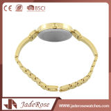 Montre-bracelet en verre minérale jaune d'acier inoxydable de mode