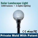 Todos en una lámpara solar LED 12W ligero del jardín recargable