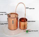 De las bebidas espirituosas 10L/3gal del alcohol del destilador de la caldera todavía del crisol fabricante de vino de cobre al por mayor del equipo de la destilación con el termómetro
