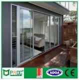 Cubierto con polvo de aluminio puertas correderas con doble vidrio templado Pnoc0011