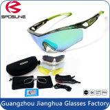 Le bâti vert frais chaud folâtre les lunettes de soleil de recyclage de lueur Anti-Intense en verre avec la lentille et le cas supplémentaires