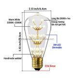 Les séries décoratives étoilées d'ampoule de DEL avec l'UL, CE, RoHS E26/27 2W 25-40W égal chauffent la lumière