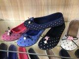 Gewebe-beiläufige flache Schuhe der Komfort-Frauen mit Perlen