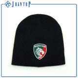 O chapéu do Beanie do inverno da forma com borda o logotipo