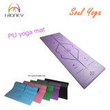 Estera púrpura de la yoga de la PU del surtidor de China con Laser Engraved Alignment e insignia de Company