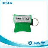 Bouche promotionnelle pour dire le masque du bout des lèvres de CPR pour des premiers soins