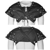 Steampunk Rivets Soldiers Men Leather Cape com cintos (S-212)