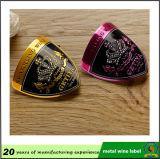 금속 복숭아 심혼 모양 술병 레이블, 주문 금속 포도주 스티커