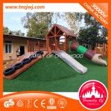 就学前の屋外の木およびステンレス鋼の物質的な運動場装置