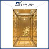 O elevador do passageiro do hotel com Golen gravou a cabine do aço inoxidável