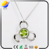 925 Silver Clover Amber Necklace During