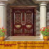Porte de découpage en bois en partie double de luxe (GSP1-007)