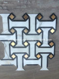 Azulejo de mosaicos de mármol Waterjet blanco