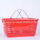 Neuer pp.-materieller Metallgriff-Plastiksupermarkt-Korb