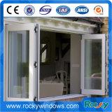 Doppia finestra piegante di vetro lustrata di alluminio con il disegno della griglia