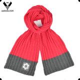 L'inverno del reticolo del Knit della nervatura ha lavorato a maglia la sciarpa del cappello con il contrassegno tessuto