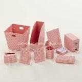 Jeu de bureau de papeterie de bureau d'organisateur de réseau d'imprimerie de carton rose de papier