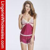 여자의 섹시한 여름 간결 Sleepwear 잠옷 공단 레이스 란제리 세트