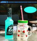 Vidro de pedreiro OEM de bebidas frias com tela de seda