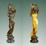 art Brass Statue TPE-477/516 여성 청동색 정원 조각품 고아한 숙녀