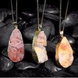 Collar plateado oro pendiente de piedra cristalino anaranjado natural de la dimensión de una variable de la gota de la joyería de la manera