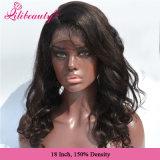 100% Brasilianer-Jungfrau-Haar-Karosserien-Wellen-volle Spitze-Perücke-natürliches Haar