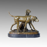 Het dierlijke Beeldhouwwerk van het Brons van de Decoratie van de Jager van de Hond van het Standbeeld van het Messing, E. Fremiet Tpal-135