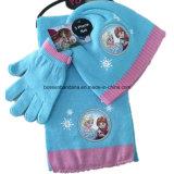 Выполненный на заказ установленные перчатки шарфа Beanie Knit красной зимы логоса напечатанные шаржем акриловые