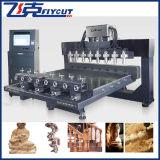 máquinas Multi-Function de trabalho do router do CNC das cabeças da linha central 8 do servo motor 4 do tamanho de 2500X1500mm